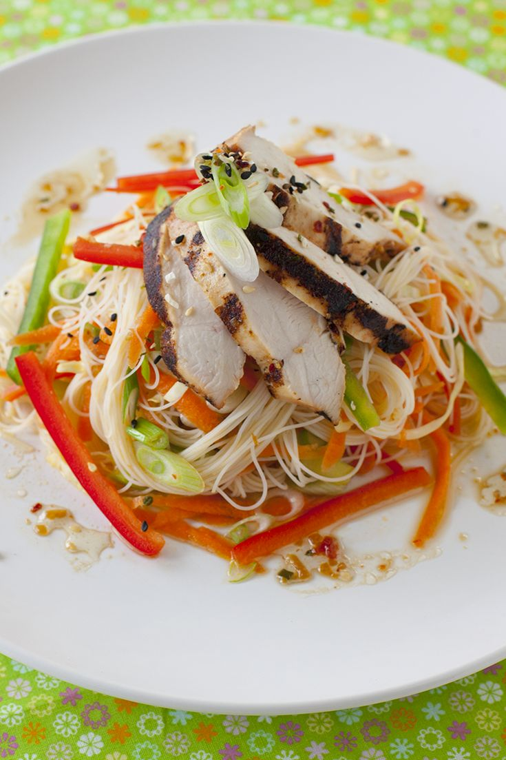 Asian Noodle Salad For an extra crunch, top with our Sesame Crunch Topper. To make this recipe complete top with Grilled Teryiaki Chicken from the day before.