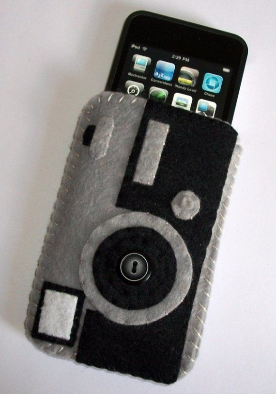 Retro Camera Ipod Iphone Cell Phone felt Case by CuriousCaseGifts