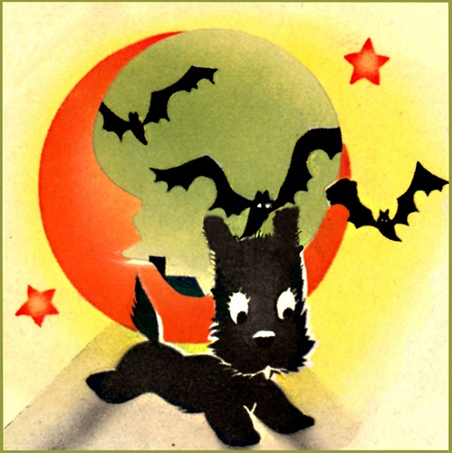 Vintage Halloween Scottie Dog Illustration  Scottish Terrier