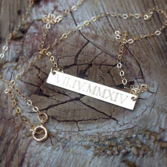 ROMAN NUMERAL necklace  date necklace  custom by MyBelovedAndCo