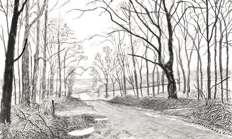 more Hockney charcoal sketches