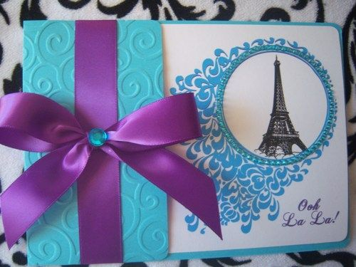 Sweet 16 Quinceañera Chic Paris Eiffel Tower Bling Invitations | suncitypartycreations - Wedding on ArtFire