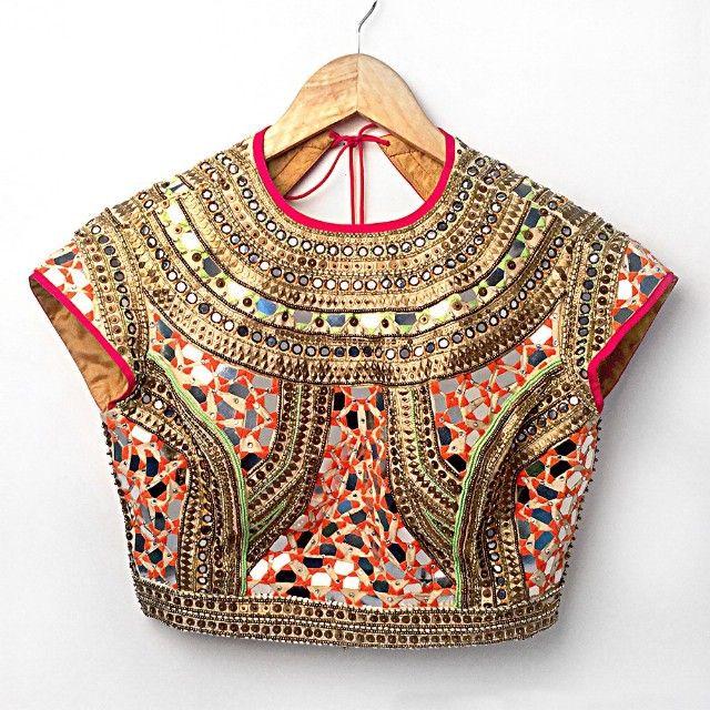 Absolutely Stunning Red & Gold Mirrorwork #Blouse By Nidhika Shekhar.