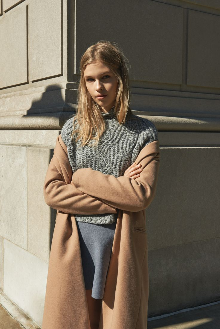 pale blues. camel. mini skirt, sweater.