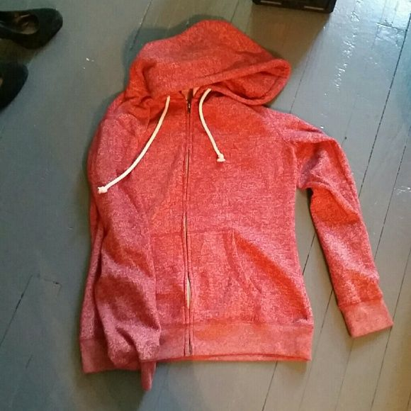 Red Zip Up Hoodie Like new, barely worn. Dark red with white speckles. Size large, fits snug. district Jackets & Coats