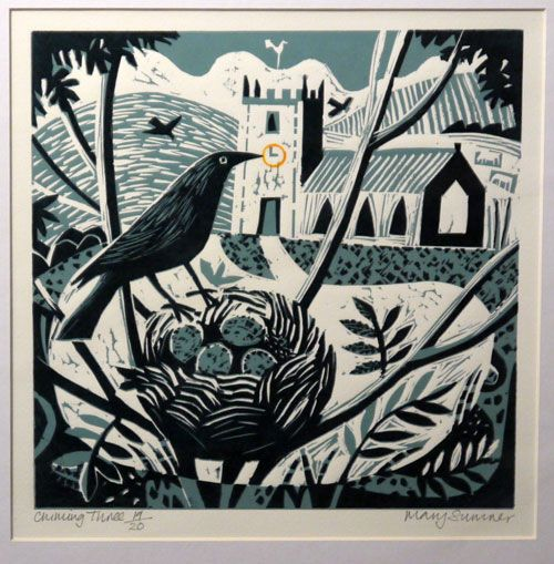 Mary Sumner, printmaking, Lino, woodcut, crow, bird, nest, eggs, nature…