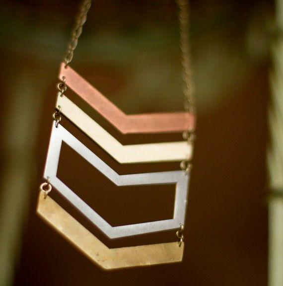 Chevron Multi Metal Necklace by scarlettgarnet on Etsy