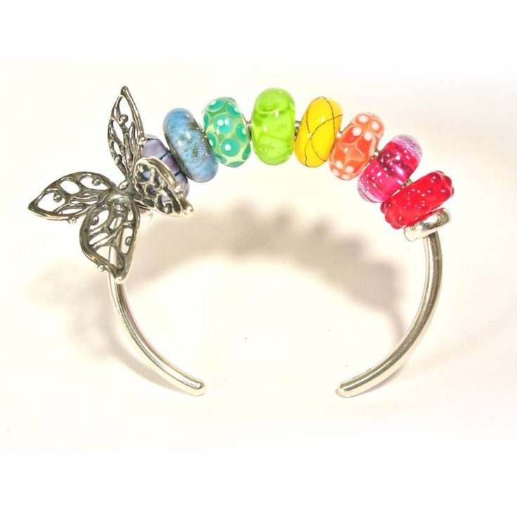 Trollbeads Bangle, Big Butterly, and Uniques. OrderTrollbeads.com #OrderTrollbeads #Trollbeads