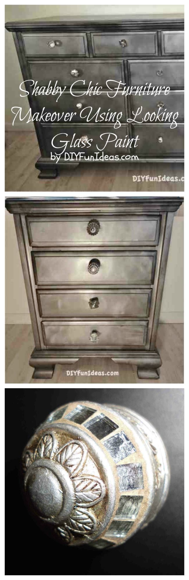 Ridiculously Awesome Shabby Chic Furniture Makeover Using Krylon Looking Glass Paint.