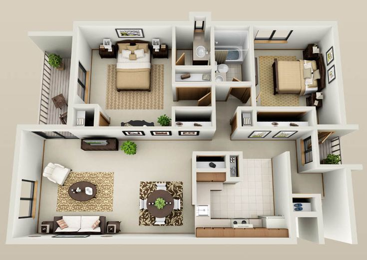 two bedroom apartment floor plans - Google Search
