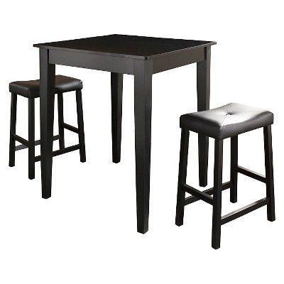 3 Piece Pub Dining Set with Tapered Leg and Upholstered Saddle Stools - Black Finish - Crosley
