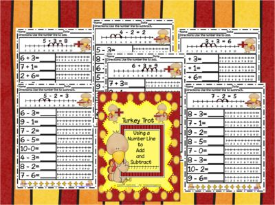 Turkey Trot (Using the Number Line to Add and Subtract) from Ms Jones Junction on TeachersNotebook.com (10 pages)