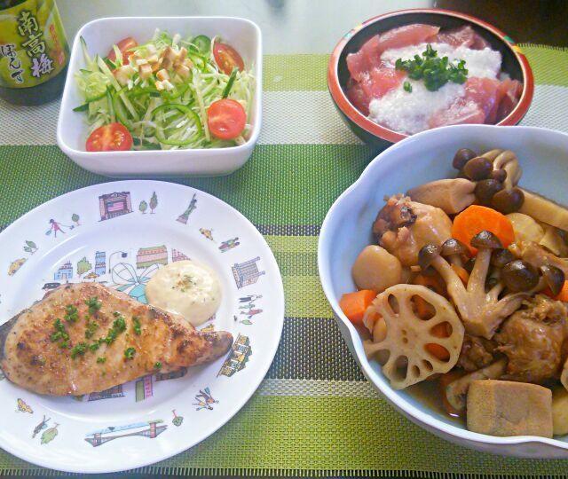 煮物には里芋では無く クワイを使ってます。シャキシャキ食感が美味♪圧力鍋だと 7分加熱で 煮物も出来ちゃいます(^o^)v - 15件のもぐもぐ - 南高梅ぽん酢サラダ  鮪の山掛け  カジキ鮪のムニエル  鶏手羽と高野豆腐の煮物 by YokoIshikawa