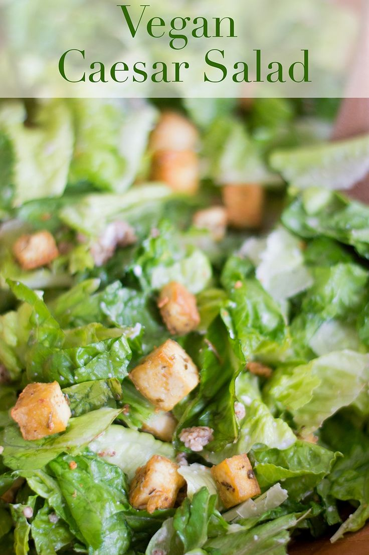 A very healthy Vegan Caesar Salad with Tofu croutons, simple vegan caesar salad dressing and romaine lettuce. You can Substitute with baby kale | #vegan #caesar #salad #salads #healthy