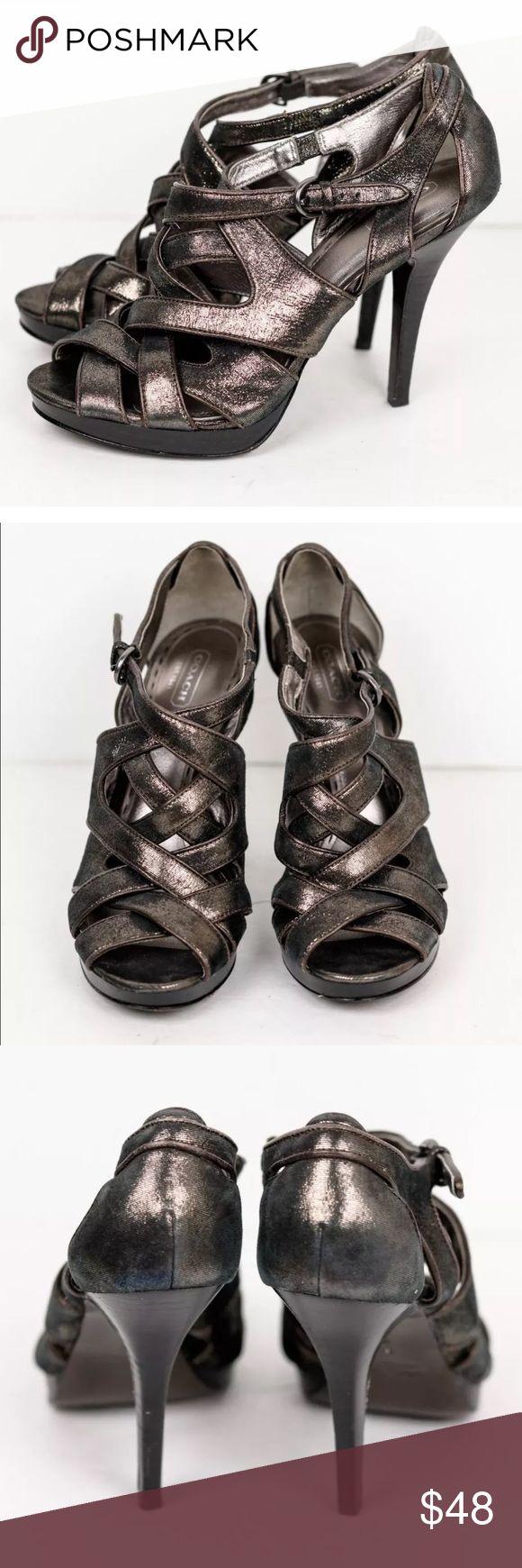 Coach Brown Glitter Metallic Pumps Heels Shoes Coach Women's Brown Glitter Metallic Pumps Leather Heels Pumps Shoes Coach Shoes Heels