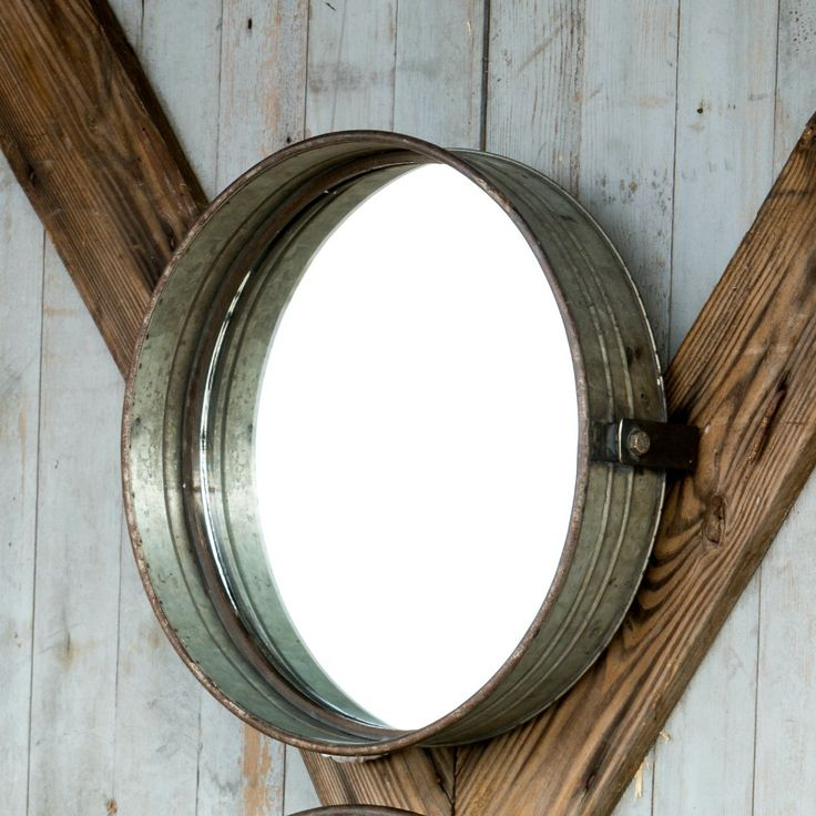 """Drum Mirrors add an extra bit of farmhouse touch to a guest bathroom. Industrial Metal Frame 16"""" x 4"""" x 16"""""""