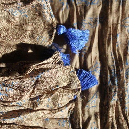 Grey Blue Antique Tassel Scarves - HipAngels - Wholesale Scarves #Blue_Scarves_Indian #Crushed_Scarves_Cotton #Best_Scarves_Cotton