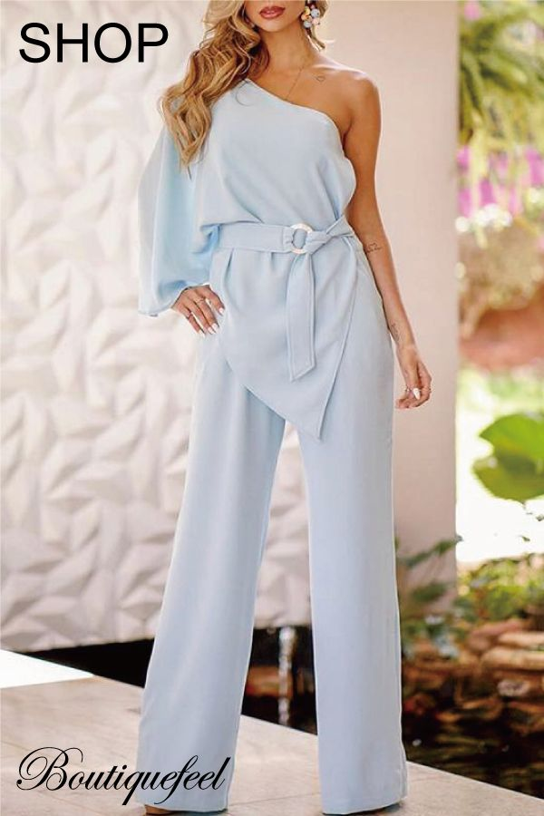 28e397c4aff36 One Shoulder Irregular Design Belted Jumpsuits