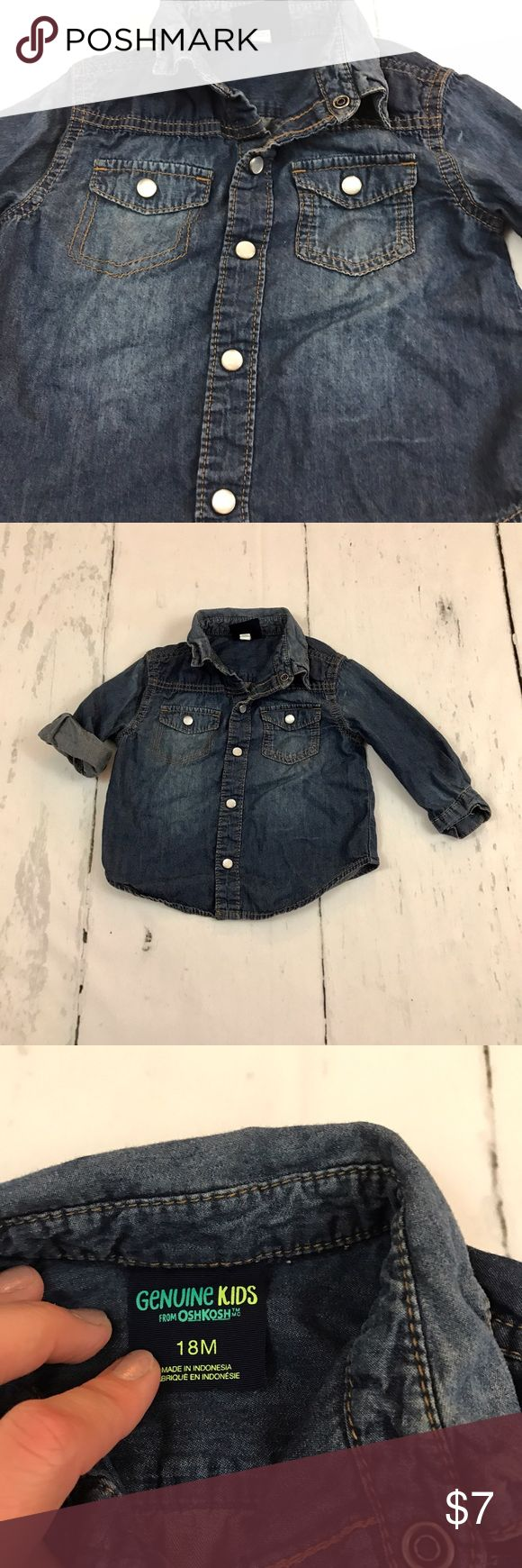 Denim Shirt with Western Pearl Snaps Such a cute outfit maker for a toddler. I often used it like a jacket over my sons cute tees.could also be Western Wear with pearl snaps. Lightweight, soft denim. EUC Osh Kosh Shirts & Tops Button Down Shirts