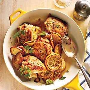 meyer lemon chicken ~ recipe ~ cookinglight jan2013 ~ uses bone-in/skin on
