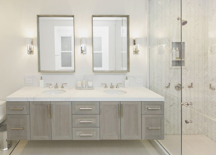 Best Bathroom With Grey Cabinets And Calacatta Marble By 400 x 300