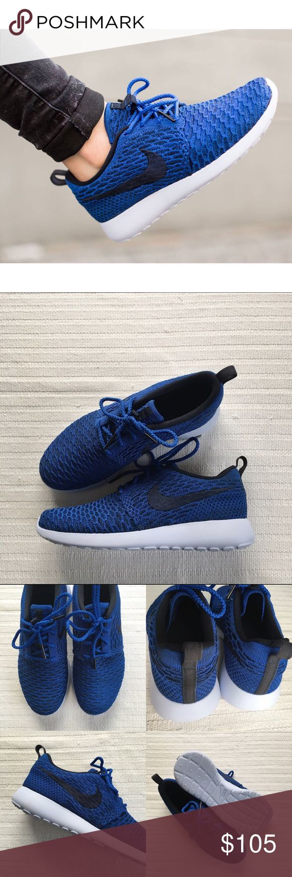 Women's Nike Roshe One Flyknit Royal Blue Sneakers Women's Nike Roshe One Flyknit Royal Blue Sneakers Style/Color: 704927-400  • Women's size 7.5  • NEW in box (no lid) • No trades •100% authentic Nike Shoes Sneakers