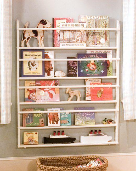 DIY Kid's Bookshelf out of a plate rack!