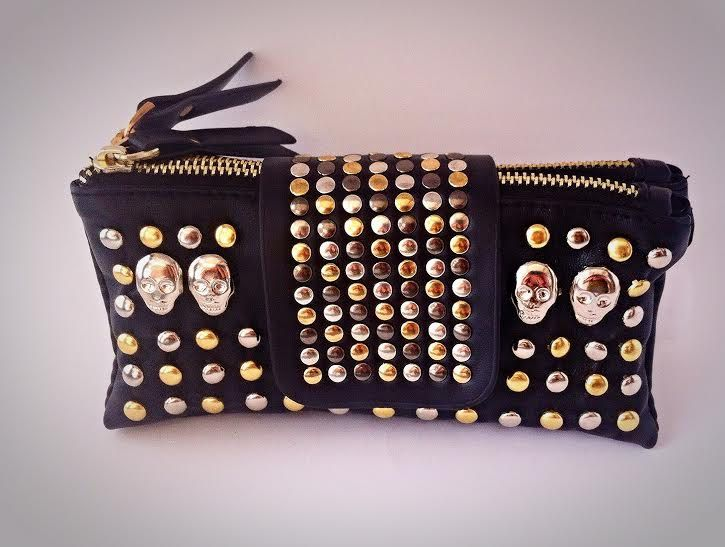 Faux (Vegan) BLING!  Leather Skull Clutch Wallet -  Gold Silver Rivets Studs Purse w/ Detachable Carry Strap by ToxifyDesigns on Etsy