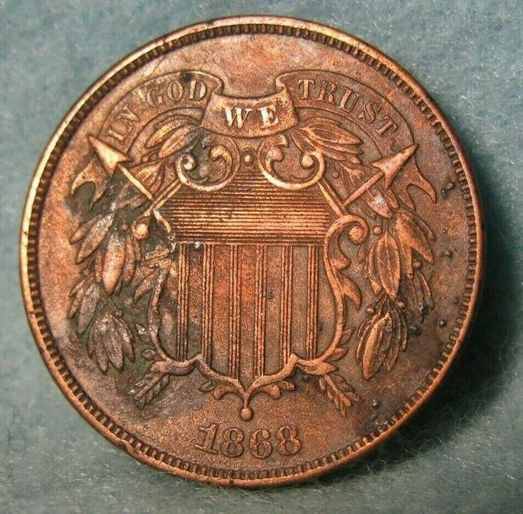 1868 two 2 cent piece high grade details united states