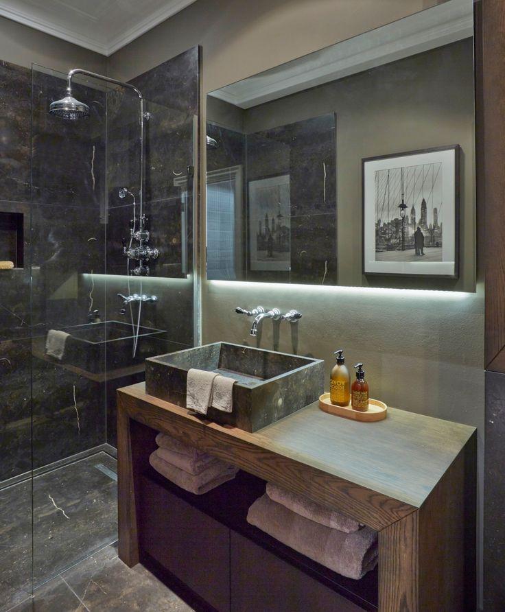 Masculine Bathroom In A Home London UK Designed By Fiona Barratti