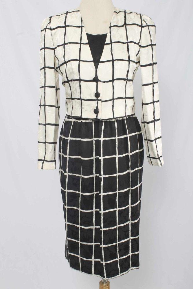 Papell Petites Size 2  Black & Ivory Silk Windowpane Skirt Suit R1572 L916  | eBay