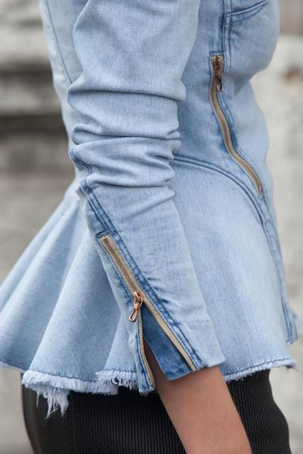 Visit our website for more information on zippers like these.  iamliebe:    Denim peplum jacket