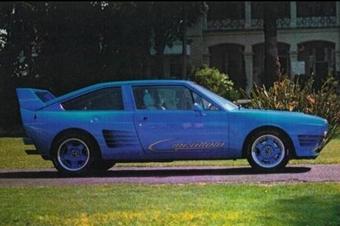 1980's Giocattolo from Australia.  There were only ever 15 of these cars built.  A mid-mounted 300HP Holden HSV V8 engine was prepared by Walkinshaw and mated to a ZF transaxle like the ones used by the Detomaso Pantera's. Formulae 1 style suspension completed the business end of the car. The chassis was an Alfa Romeo Sprint and all the body panels were Kevlar and Carbon Fibre. The whole package weighed 1086Kg.
