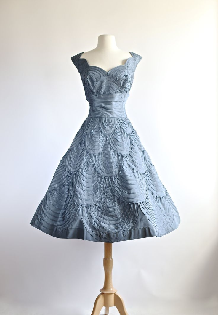 Vintage 1950s Party Dress ~ Vintage 50s Prom Dress ~ 1950s Wedgewood Blue Cocktail Party Dress by xtabayvintage on Etsy