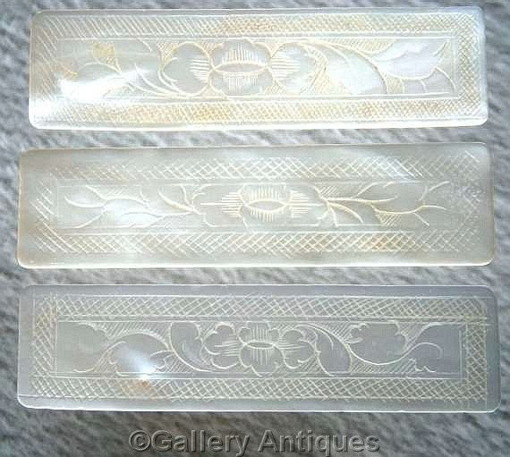 Three 19th Century Antique Chinese Mother of Pearl Oblong / Rectangular Engraved Hand Made Gaming Counters / Silk Thread Winders