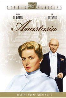 Ingrid Bergman, Yul Brenner, Helen Hayes. Director: Anatole Litvak. IMDB: 7.1 _______________________ http://en.wikipedia.org/wiki/Anastasia_(1956_film) http://www.rottentomatoes.com/m/1031763-anastasia/ http://www.tcm.com/tcmdb/title/67292/Anastasia/ Article: http://www.tcm.com/tcmdb/title/67292/Anastasia/ http://www.allmovie.com/movie/anastasia-v2169