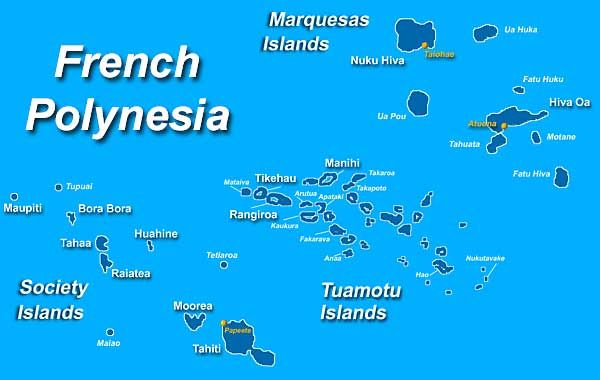 Map of French Polynesia.   Society Islands: Bora Bora, Typuai, Tahaa, Tetiaroa, Raiatea, Huahine, Tahaa, Moorea, Maiao, Maupiti, Tupuai, Tahiti, Papeete  Tuamotu: Mtaiva, Tikehau, Rangiroa, Manihi, Fakarava, Arutua, Apataki, Kaukura, Anaa, Hao, Nukutavake  Astral Islands: Rimatara, Rurutu, Tubuai, Rapa, Raiavavae.  Marquesas: Ua Huka, Ua Pou, Hiva Oa, Tahuata, Fatu Hiva.