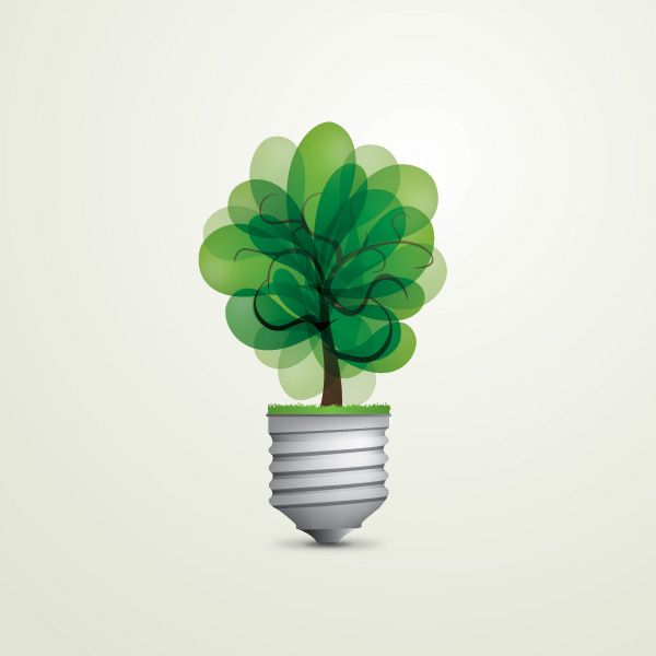 Trees and Landscapes, Conceptual, Backgrounds: background, conceptual, eco, green, light bulb, natural, tree, vector
