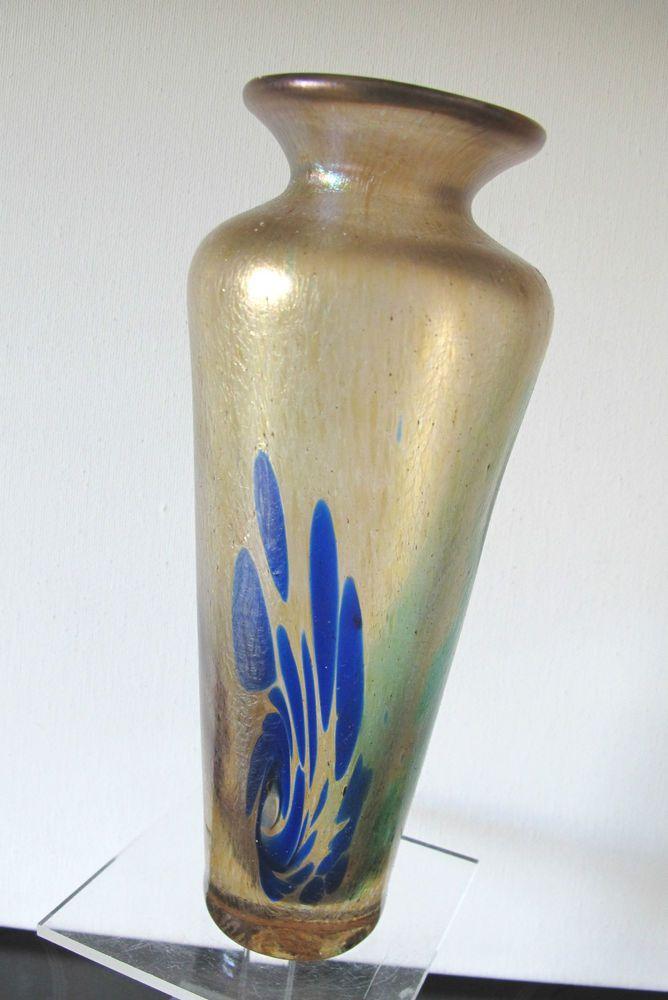 Vase, FRANZ AUSTEN Bodenmais Glasvase Unikat  irisierend Höhe 22 cm ° Signiert