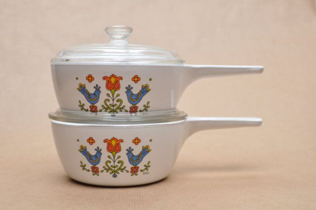 Vintage Dishes & Bowls – Pyrex Corning Ware - Country Festival - 2 skillets – a unique product by vaseomania on DaWanda