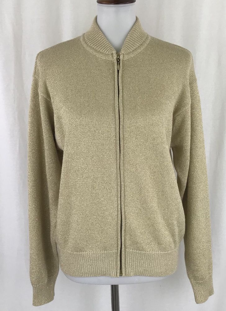 Vintage Womens Cardigan Sweater Zip Front Gold Metallic Doncaster