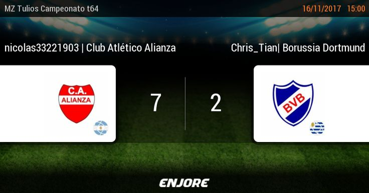 MZ Tulios Liga t64 - 17° jornada - nicolas33221903 | Club Atlético Alianza 7 - 2 Chris_Tian | Borussia Dortmund https://www.enjore.com/es/match/6138765/nicolas33221903-club-atletico-alianza-chris_tian-borussia-dortmund/