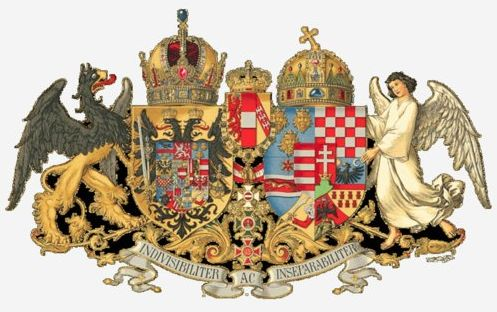 Later, after the Austro-Hungarian compromise of 1867 and the establishment of the dual monarchy, the Croatian lands and especially the Croatian chequy once again is clearly seen in the royal and official symbology. Taking on a prominent position (strategically symbolic also?) even within the official coat of arms of the dual monarchy coat of arms symbology of Austria-Hungary, almost like a protective shield within the matrix of coats of arms. Coincidentally and apropos the coats of arms…