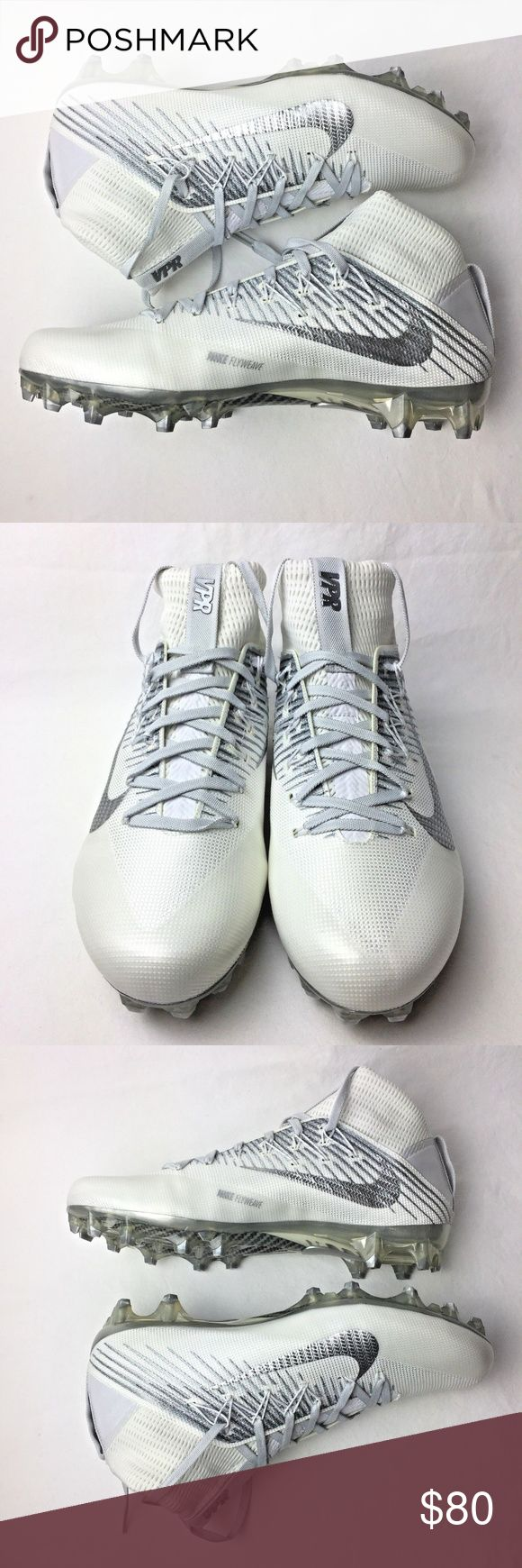 Nike Vapor Mens 10 Untouchable 2 VPR Football Shoe Nike Vapor Mens 10 Untouchable 2 VPR Football Cleats White Silver 824470100  NEW WITHOUT BOX  • Durable woven construction provides an adaptive and comfortable fit • Flywire cables wrap the midfoot to lock your foot in place • One-piece collar wraps your ankle for a glove-like fit • Carbon fiber plate provides lightweight stability without sacrificing flexibility • Updated cleat geometry is designed for a more responsive pivot and release…