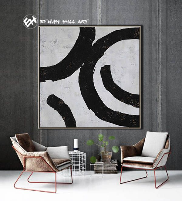 Abstract Painting Black White Abstract Art, Large Wall Art Contemporary  Painting Geometric Painting  Ethan