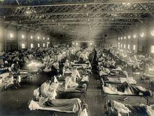 Hitna vojna bolnica napravljana za  vrijeme epidemije Španjolske gripe  koja je ubila oko 675 tisuća ljudi samo  u Velikoj Britaniji 1918. godine.