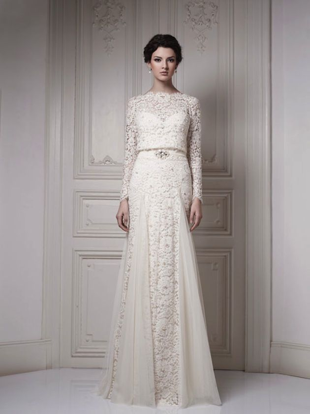 beautiful long-sleeve, high-neckline off-white ivory lace wedding dress with embellished belt waist by ersa atelier
