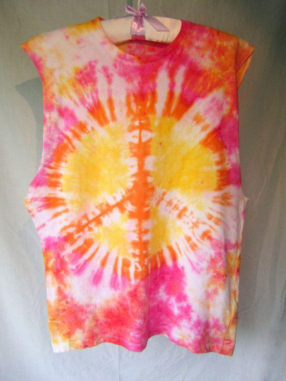 Hand dyed tie dye peace sign muscle tee by GeeniegiiTieDye on Etsy #tiedye #etsy #coachella