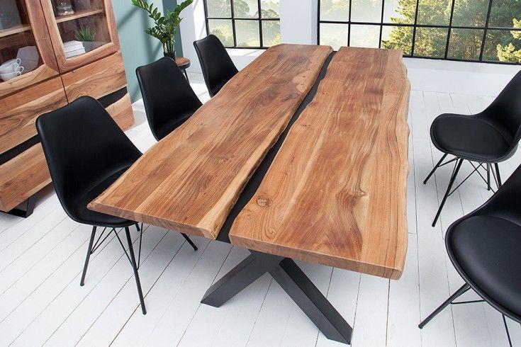 Massivholz Esstisch Amazonas 200cm Akazie Metall Schwarz Baumkante