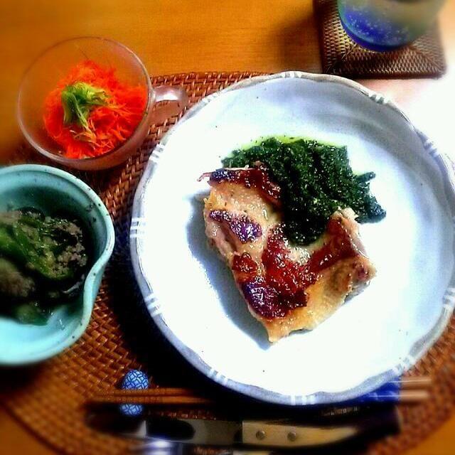 ★人参と胡瓜のサラダ ★茄子の胡麻味噌煮 ★鶏肉とジェノベーゼ - 93件のもぐもぐ - 春菊ジェノベーゼソース by 0614yu